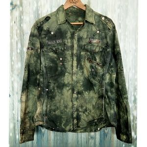 F.U.S.A.I  army inspired button down top